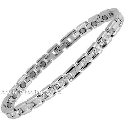 Ladies Magnetic Healing Bracelet Silver Bangle - Arthritis Pain Relief 78