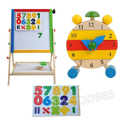Disassembly Wooden Clock Toys For Kids Learn Time Clock/ Math Educational Toys