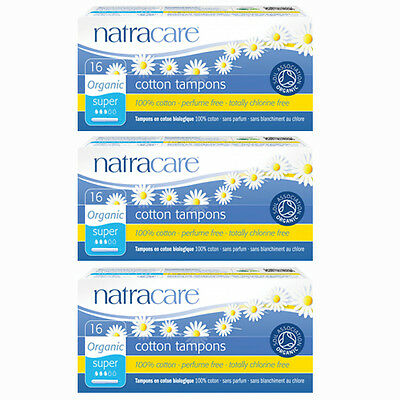 Natracare Organic Cotton Tampons With Applicator -Super 16 x 3 packs
