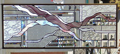 Stained Glass Window Abstract Hanging 12 1/2 X 32""
