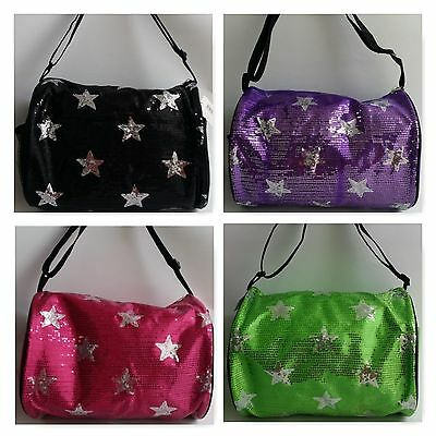 NEW Sequin Stars DANCE CHEER PARTY Girls Kids Duffle Black Adjustable Strap Bag