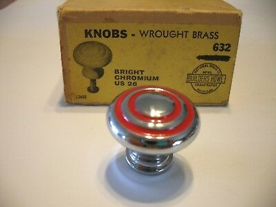 "Vtg NOS 1-1/8"" CHROME CABINET KNOBS RED rings Circles Drawer Pulls Bulls Eye"