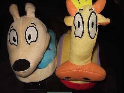 M 7-8 Rockos Modern Life Dog Heffer Nickelodeon Cartoon Character Plush Slippers
