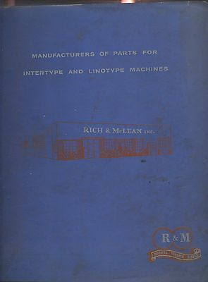 early 1960s Rich & McLean catalog of LINOTYPE & INTERTYPE parts & accessories