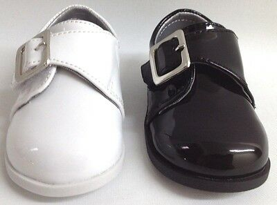 NEW Auston Avery537 Black White Faux Patent Leather Silver buckle Dress Shoes
