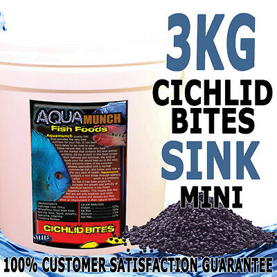 AQUAmunch Cichlid Bites Fish Food Sinking Mini 1.5mm Pellets 3KG