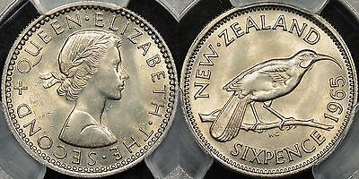 New Zealand 1965 Sixpence PCGS MS64 and Broken Wing Variety PCGS MS65 Gem Unc