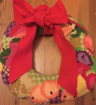 "Vintage Needlepoint Handmade 13"" Wreath Retro Christmas Fruit Awesome"
