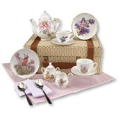 Reutter Children's Medium Porcelain Tea Set for 2 in Case FLOWER FAIRIES
