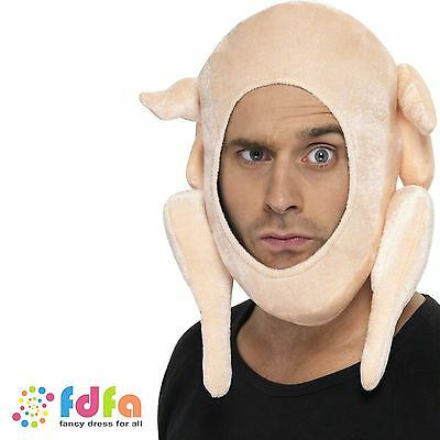 FUNNY STUFFED CHRISTMAS TURKEY HAT ladies mens novelty xmas fancy dress costume