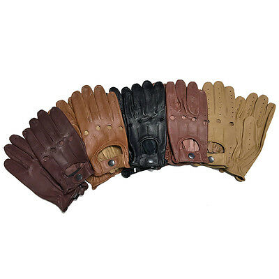 Genuine Lamsbskin Soft Leather Skin Fit Driving Gloves Chauffeur Bus Wheelchair