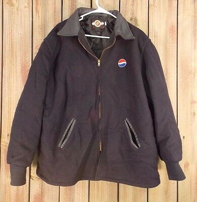 Pepsi Jacket Coat Wool Quilted Lining Black Made In USAMen's Size XL