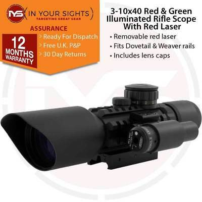 New 3-10x 40 Red & Green Dot Illuminated Rifle Scope / Airsoft Sight + Red Laser