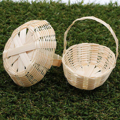 75mm Oval Handmade Artificial Weaving Basket Bamboo Wood Craft Decorate A1203