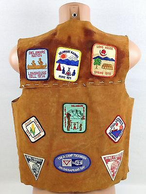 Vintage 1970's Leather Handmade Boy Scouts Vest With Patches BSA Delawear Nation