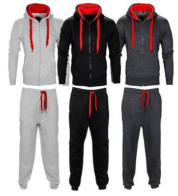 New Mens Authentic Contrast Cord Tracksuit Hooded Zip Gym Jogging Sweatshirt