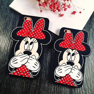 3D Cute Cartoon Mouse Rubber Soft Silicone Case Cover for iPhone 6 6S Plus