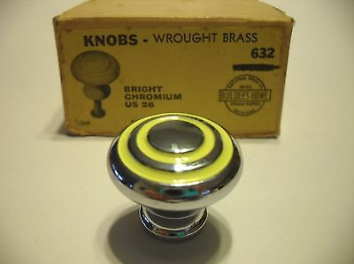 "Vintage NOS 1-1/8"" CHROME CABINET KNOBS YELLOW Lines Circles Drawer Pulls Brass"