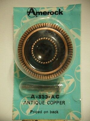 "Vtg NOS 1-3/8"" Antique COPPER Plated CABINET KNOB Drawer Pull Amerock Patrician"