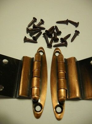 "Vintage NOS Antique COPPER Plated Steel Cabinet Door HINGES 3/8"" Inset One Pair"