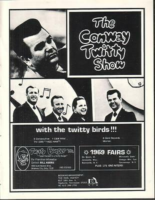 The Conway Twitty Show with the Twitty Birds 1970 Ad- 5 consecutive #1 hits