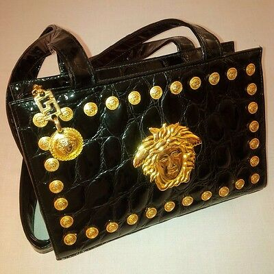 a613c22dee Gianni Versace Couture Embossed Patent Leather Medusa Handbag Black Italy  Xlent
