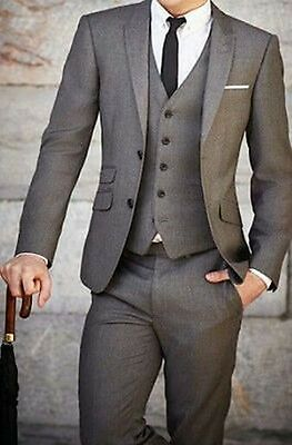 2016 New Mens Wedding Suits Groom Tuxedos Business Suit (Jacket+Pants+Vest+Tie)