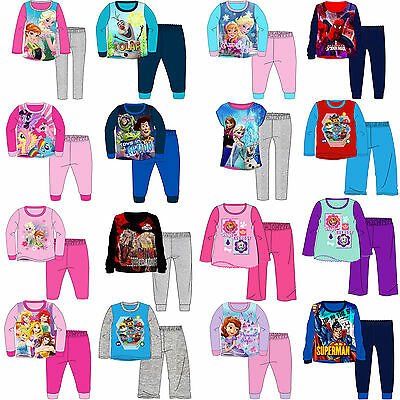 Kids Pyjamas Girls Boys Character Long Sleeve Childrens Pyjama Set 1-10 Years
