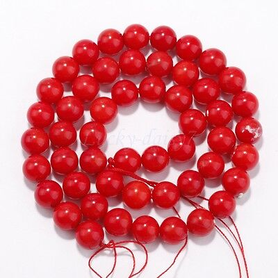 A strand 16'' Red Natural Coral Gemstone Round Charms Spacer Beads 4mm-12mm