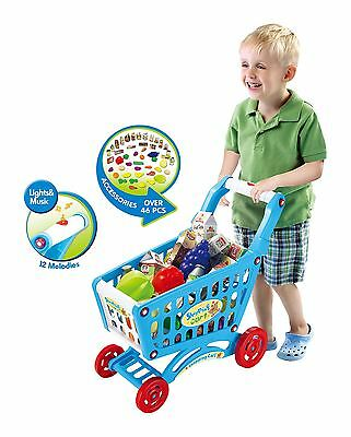 46 Pieces Play Light & Sound Shopping Grocery Food Trolley Playing Set