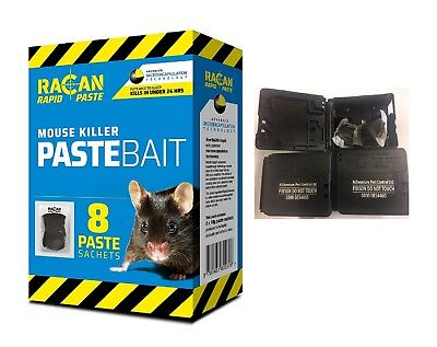 8 Poison Mouse Killer Strong sachets Alphachloralose Racan Bait and 2 mice boxes