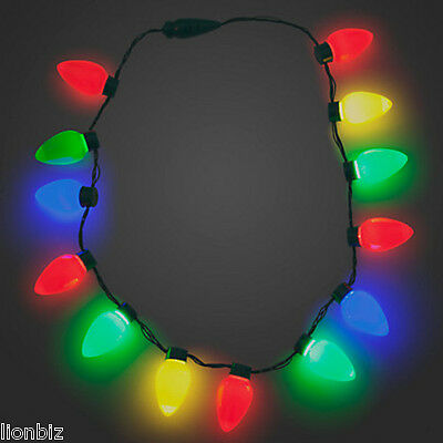 Gloworks LED Holiday Christmas Bulbs Light-Up Necklace  3 Blink Patterns # 09043