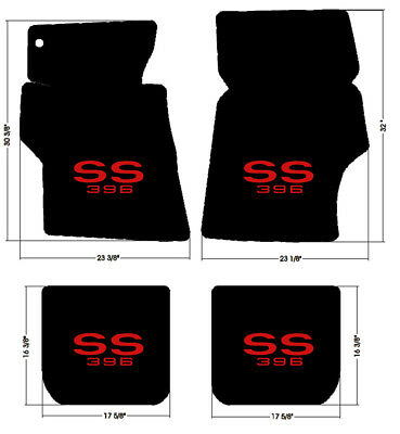 NEW! 1966-1967 Chevelle Floor Mats Black Carpet Embroidered SS 396 logo RED All