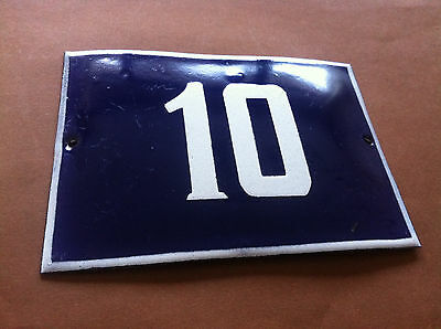 ANTIQUE VINTAGE EUROPEAN ENAMEL SIGN HOUSE NUMBER 10 DOOR GATE SIGN 1960's