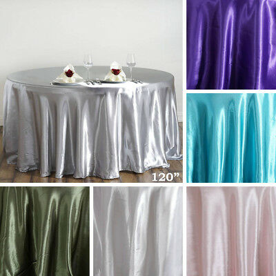 "15 pcs 120"" ROUND Satin TABLECLOTHS Wedding Party Event Tabletop Linens Supplies"