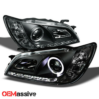 Fits 01-05 Lexus Altzza IS300 Black Bezel Halo Projector DRL LED Headlights Pair