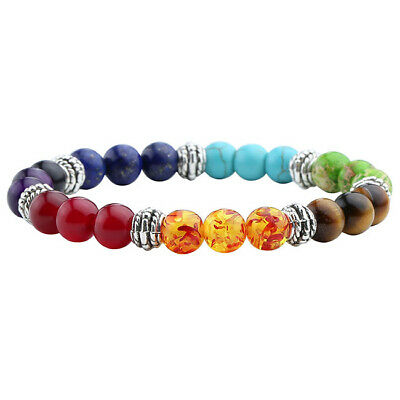 7 Chakra Healing Point Balance Yoga Reiki Prayer Wish Gems Bead Bracelet