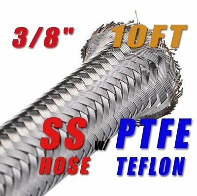"""3/8"""" 9.6Mm Braided Stainless Steel Ptfe E85 Ethanol Fuel Hose Petrol Line 10 Ft"""