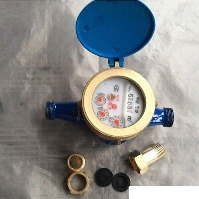 """1PC 15mm Cold Water Meter Woltmann 1/2"""" Dry Water Meter Counter with Fittings"""