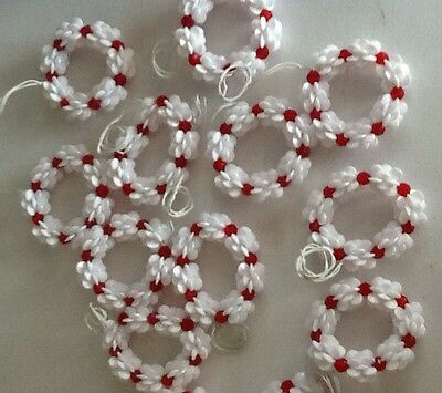 Vintage 80s Handmade Beaded Christmas Ornaments Wreaths For White Tree Lot of 10