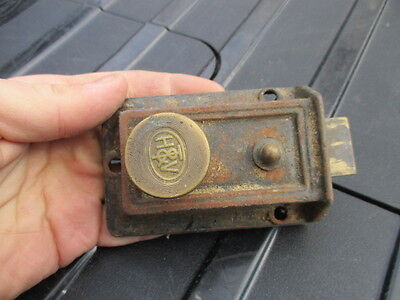 Vintage Iron Lock with Brass Handle Knob and Bolt H&V Maker Bathroom etc Antique