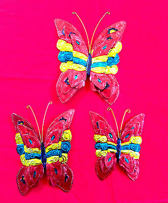 Mexican Hand Painted Tin Butterfly Trio Ornaments - Red, Pretty, Older