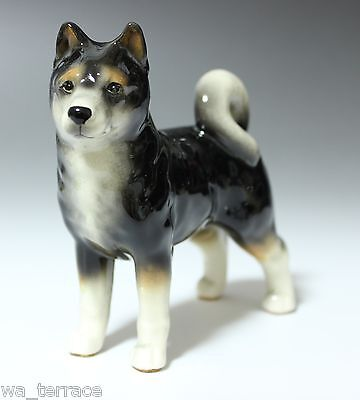 Black and Tan Shiba Inu Japanese Dog Standing Ceramic Porcelain Figurine