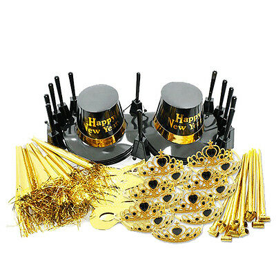 New Years Eve Ultimate Gold Black Party Pack Kit for 25 People