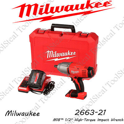 "Milwaukee 2663-21 M18 1/2"" High-Torque Impact Kit w/Friction Ring 5 Yr. WARRANTY"
