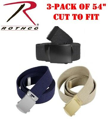 "3-Pack Military Web Belts 54"" Cut To Fit 1.25"" W 100% Cotton Web Belts 44170"