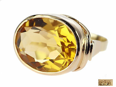 Art Deco 14 K 585 Gelb Gold 7,0 ct Sommer Citrin Ring handgefertigt antik
