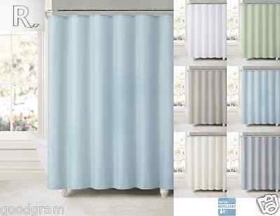 Water Repellent Fabric Shower Curtain With Suction Cups   Assorted Colors. Sardinia Purple Blue White Floral Flower Fabric Shower Curtain