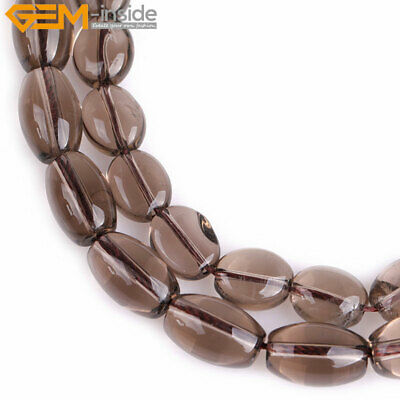 Natural Gemstone Flat Oval Smoky Quartz Stone Loose Beads For Jewelry Making 15""