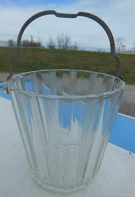 Art Deco Clear Glass Paneled Textured Ice Bucket W/ Handle Barware House Party